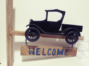 Early 20th century HAND MADE WOOD FOLK ART MODEL T SIGN