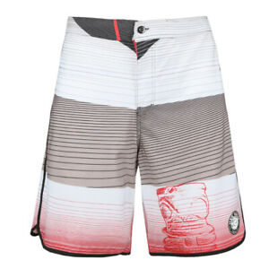 Men's WhiteBoard Shorts Stripped Print Fast Dry Surfing Beach with Pockets