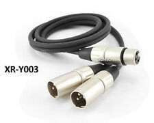 3ft Kirlin Pro XLR (3-Pin) Female Jack to 2-XLR Male Y-Splitter OFC Cable