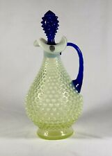 Fenton Topaz Opalescent Hobnail Decanter With Cobalt Handle And Stopper