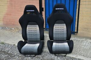 2x XL size Bride E Black cloth reclining seats. Bucket recaro honda type r