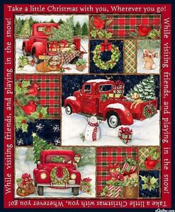 """36"""" Fabric Panel - Springs Susan Winget Red Truck Christmas Collage Wallhanging"""