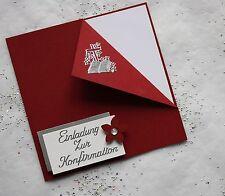 5 Einladungskarten zur Konfirmation kirschrot/silber Handarbeit incl. Kuvert