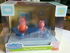 Peppa pig scene pack with figures Living Room / Bedroom / Kitchen NEW BNIB