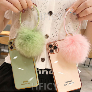 for Xiaomi Phone Case, Bling Sparkly Circle Fur Tassel Women Protective Cover