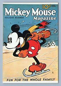 "Vintage Mickey Mouse Magazine Cover Art Walt Disney Postcard 4x6"" Ice Skating"