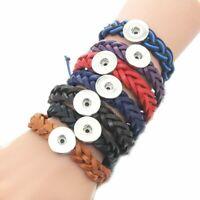 Leather Bracelet DIY Jewelry 10 Pcs/Set 18mm Snap Button Women Braided Lace New