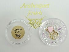 """GOLD & """"PINK HEARTS"""" ARABESQUES CHARM POTS FOR MEMORY/FLOATING PENDANT/NECKLACE"""