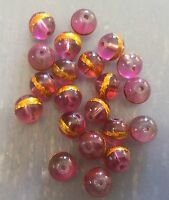 Vintage Czech Berry Pink w Gold Foil Applied Banded Round Roundish Glass Beads