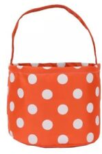 Dots Design Halloween Bucket Bag Trick or Treat Reusable Candy Bag Orange White