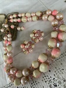 Lovely Vintage 1950s Pink Pearl & Crystal Bead Necklace & Clip On Earrings