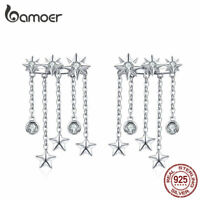 BAMOER Stud Earrings 100% Sterling silver Shining star With CZ For Women Jewelry