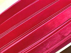 """Vintage 7/8"""" Velvet Ribbon Trim Hot Pink 3yds"""