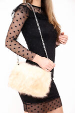 Ladies Designer Soft Fluffy Feather Faux Fur Clutch Bag Purse Chain Runway NEW