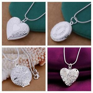 925 Silver Plated Victorian Style Love Heart Locket Photo Necklace 45cm Chain UK
