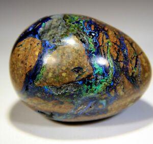"""285 g 2.83"""" Stunning Polished Azurite Malachite Chrysocolla Egg, Peru! AZS247"""
