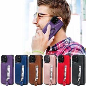 10pcs/lot Anti-drop Double Buckle Zipper Leathe Back Case for iPhone Samsung