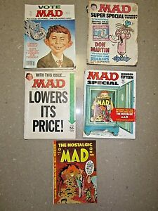 Vintage MAD Magazines x 4: 1974 (special=+bonus), 75, 76 & 1980. Fair cond only