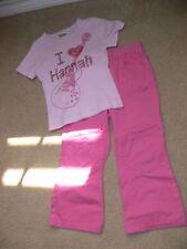 Pink Girls Outfit I love Hannah w Guitar Bling Pink Shirt & Pink Pants Sz 4T ek