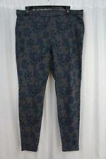 HUE Leggings Sz L Thunder Gray Mod Floral Original Denim Casual Legging U16939H