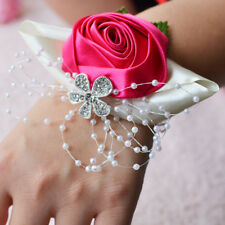 UK Flower Wrist Corsage Pearl Bead Bracelet Wedding Prom Party Bridesmaid Decor