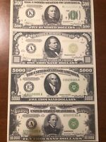 Copy Reproduction 1934 Green Seal $5k-$1 Mil Uncut US Currency Sheet Paper Money