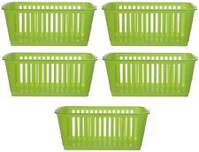 5x Whitefurze Plastic Nestable Handy Tidy Storage Basket Tray 25cm - Lime Green