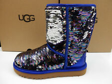 UGG WOMENS BOOTS CLASSIC SHORT SEQUIN NAVY SIZE 9