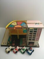 Fisher Price Vintage Play Family Garage - 1970's - Inc Ramp, 4 Cars, 3 Figures