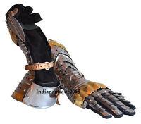 Armor Pair Brass Accents Gauntlet Gloves  Medieval Knight Crusader Steel Gloves
