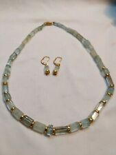 18k Yellow Gold Aquamarine Crystal Bead Necklace And Earring Set
