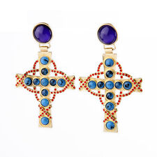 Costume Fashion Clip on Earrings Dangle Gold Blue Navy Cross Red Vintage J2