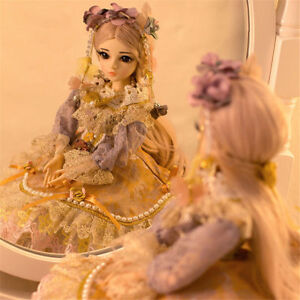 """60cm Mini BJD Dolls 24"""" Lovely Girl with FREE Face Make Up Clothes Eyes Wig Toy"""