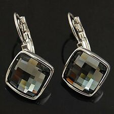 18K GP White Gold Crystal Square Earring Fashion jewelry