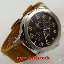 44mm Parnis black dial steel case Sapphire glass st 2542 Automatic Mens Watch