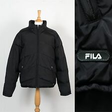 MENS VINTAGE RETRO FILA PUFFA PUFFER JACKET COAT WARM INSULATED BLACK WAVEY XL