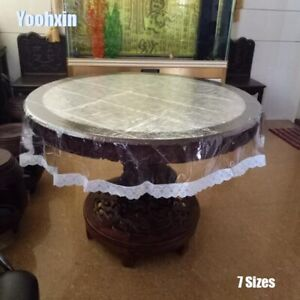 Lace Soft Glass Round Transparent PVC TeaTable Cloth Cover Waterproof Tablecloth