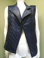 Apt 9 Women's Blue Quilted Faux Leather Vest~Size S