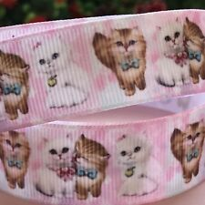 1 METRE CROSSGRAIN RIBBON CUTE KITTENS   /Craft Cake Decorations Gift Wrapping