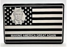 MAGA AMERICAN FLAG, Billet Aluminum Trailer Hitch Cover, Black Anodized 4x6