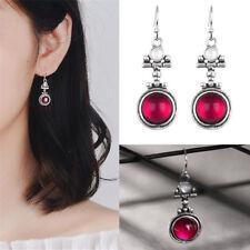 Chic Silver Moonstone Red Agate Dangle Hook Earrings Women Fashion Jewelry New