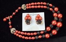 "50s Signed BEAU Red Black Beads Double Strands 15"" Set Necklace Clip-On Earrings"