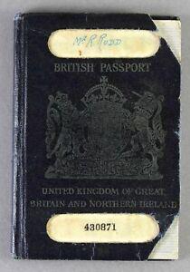 BRITISH PASSPORT 1947 BOAC AIRLINE PILOT REVENUE ENTRY STAMPS EGYPT INDIA
