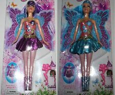 Set of 2 x Girls FAIRY DOLL pretty angel action figure toy NEW 30cm Purple-Blue