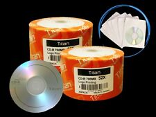 100 Pieces 52X Blank CD-R Disc Media 700MB + 100 Paper Sleeves + Free Shipping