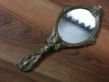 AUTHENTIC BRASS HAND HELD MIRROR DECORATED WITH ANGELS