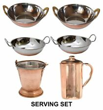 6 Pcs Set Stainless Steel Copper Bottom Kadai|Balti|Mini Wok|Copper Jug Pitcher