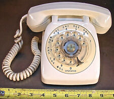 AUTOMATIC ELECTRIC, WHITE ROTARY DIAL DESK TELEPHONE