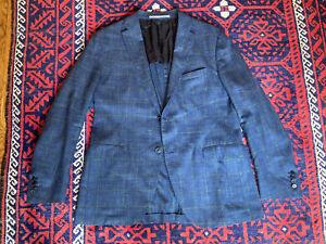 Cantarelli 46, 56 Eu Blue Green Wool Silk Linen Loro Piana Summertime Blazer