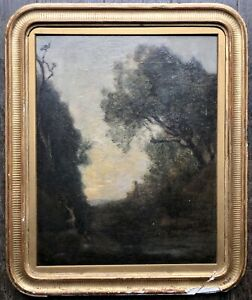 Tableau Ancien COROT Camille Paysage Bois Nymphe Peinture XIXè Barbizon Réalisme